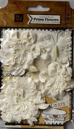 Prima Marketing, Inc. Handmade White Flowers & Butterfly Embellishments