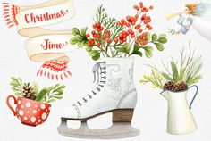 Christmas Clipart Collection + Bonus by Watercolor Nomads on Creative Market