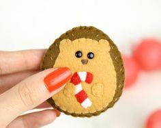 Decorazione di Natale riccio in feltro, Riccio ornamento, pallina di natale, albero di natale addobbo, candy cane, portachiavi