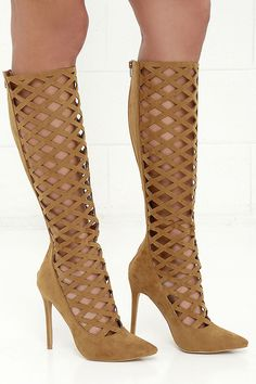 Strike It Up Mocha Brown Suede Tall Caged Heels at Lulus.com!