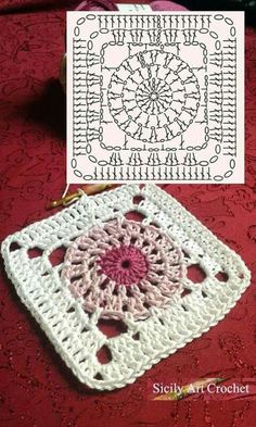 PRETTY crochet square. Each square can have two shades of one color, and then white.