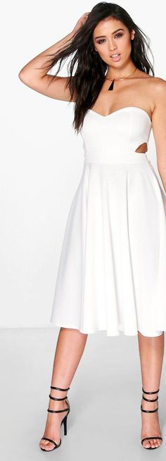 Joyce Cut Out Bandeau Midi Skater Dress - Dresses  - Street Style, Fashion Looks And Outfit Ideas For Spring And Summer 2017