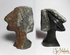 2 sided vintage Shona Zimbabwe African tribal art, hand carved serpentine stone abstract sculpture bust showing both a smooth woman's face and a rough man's face. Signed. Quite pretty and exceptional! Never to bore! €38 by SoVintastic