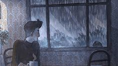"""What's a rainy day without some delicious coffee-flavoured loneliness? Cartoon Kunst, Anime Kunst, Cartoon Art, Anime Art, Art And Illustration, 4d Animation, Rain And Coffee, Rain Gif, Relaxing Gif"