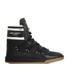 サンローラン(SAINT LAURENT)ブラックカーフレザー・ファブリックムートンブーツ LEATHER BOOTS