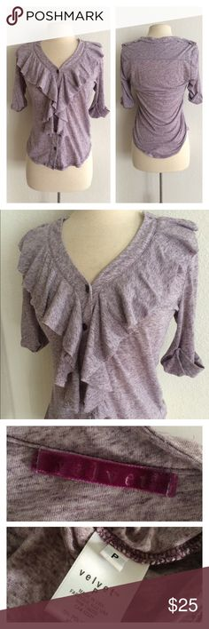 """FINAL💲Velvet purple button down Velvet top. Elbow length sleeves. Light purple color. Size . 70% polyester/ 30% linen. Lightweight and very stretchy! Slightly sheer. Measures 26"""" long with a 35"""" bust. Very good used condition! Size is marked as P- would fit XS/S.  🚫NO TRADES🚫 💲Reasonable offers accepted💲 💰Great bundle discounts💰 Velvet Tops Button Down Shirts"""