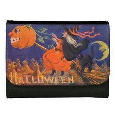 Vintage Halloween Art Medium Faux Leather Wallet