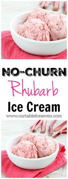 No Churn Rhubarb Ice Cream! Creamy, refreshing and packed with sweet rhubarb. No ice cream maker needed! Creamy, refreshing and packed with sweet rhubarb and No ice cream maker needed! Rhubarb Desserts, Rhubarb Recipes, Ice Cream Desserts, Frozen Desserts, Ice Cream Recipes, Frozen Treats, Just Desserts, Dessert Recipes, Rhubarb Ideas