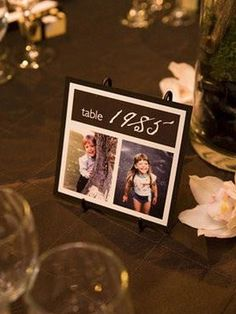 I want TONS of picture things at my wedding - Table numbers with a date & pictures of the bride & groom during that year. LOVE THIS IDEA. Wedding Events, Wedding Reception, Our Wedding, Dream Wedding, Weddings, Wedding Tables, Trendy Wedding, Wedding Pins, Wedding Stuff