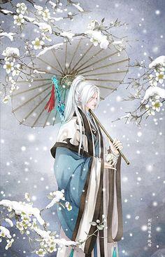 流年色玥落倾城采集到古风系列——古风男子(2585图)_花瓣插画/漫画