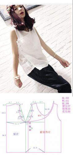 Шитье | простые выкройки | простые вещи.Блузка с запахом, выкройка на размер 40/42 (рос.) // Taika