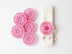 Pink crochet flower appliques for party table decor napkin ties jewelry making gift wrapping Shabby chic Easter decoration embellishment oht. $12.00, via Etsy.