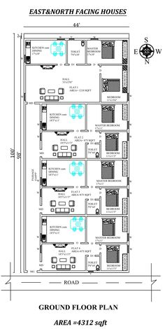The Perfect East and north facing row House Plan As Per Vastu Shastra,Autocad DWG and Pdf file details. 2bhk House Plan, Model House Plan, House Layout Plans, Family House Plans, New House Plans, House Layouts, House Floor Plans, House Floor Design, Duplex House Design