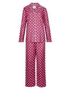 Pure Cotton Revere Collar Spotted Pyjamas | M&S