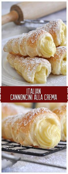 Italian Cream Stuffed Cannoncini (Puff Pastry Horns) Learn how to make these crispy and buttery puff pastry cannoncini (horns) filled with velvety and rich custard cream Pudding Desserts, Custard Desserts, Custard Recipes, Köstliche Desserts, Cream Recipes, Delicious Desserts, Dessert Recipes, Plated Desserts, Cream Puff Filling