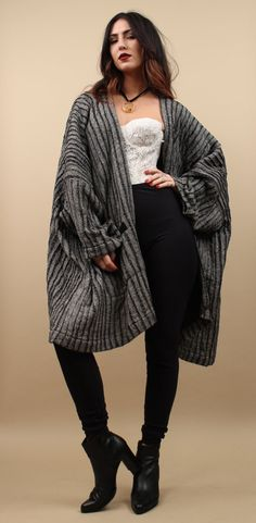80s Vtg Incredible SHIREN GUiLD Monochromatic Woven BOXY Oversized Cardigan Sweater Jacket / Stripe WOOL Kimono Duster Coat / Free Size by nanometer on Etsy