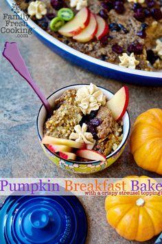 Pumpkin Breakfast Bake with Streusel Topping | recipe on FamilyFreshCooking.com © MarlaMeridith.com
