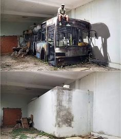 Do you believe its an art? The bus above is a drawn art on the wall below. I know youll doubt Do you believe its an art? The bus above is a drawn art on the wall below. I know youll doubt it. 3d Street Art, Murals Street Art, Street Art News, Amazing Street Art, Street Art Graffiti, Street Artists, Amazing Art, Banksy Graffiti, Bansky