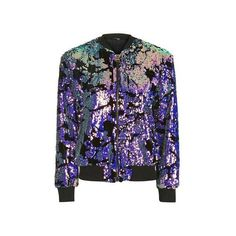 TopShop Sequin Velvet Bomber Jacket (£75) ❤ liked on Polyvore featuring outerwear, jackets, black, zip up jackets, velvet bomber jacket, blouson jacket, sequin bomber jacket and flight jacket