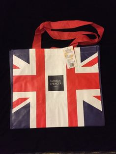 d4b22f7a61 Marks  amp  Spencer London Union Jack Tote Bag Flag Great Britain New Woven  Reuse