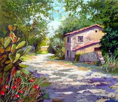 Francisco Mangialardi ~ The Old Farmstead Watercolor Architecture, Watercolor Landscape, Landscape Art, Landscape Paintings, Watercolor Paintings, Nature Pictures, Art Pictures, Ink In Water, Country Art