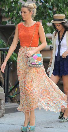 6x02. Alice+Olivia Mandy chain embellished top, Haute Hippie American Woman long skirt, Christian Louboutin Bollywood suede pumps and Angela Jackson Disco Rainbow Jai bag.