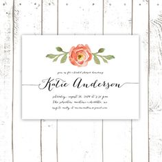 Bridal Shower Invitation, Floral Bridal Shower in Coral Watercolor, Wedding Shower, Printed Bridal Shower Invitations
