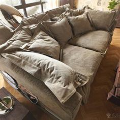 Braun Couch Hussensofa mit Kissen_1