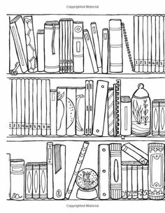 Off the Bookshelf: Weirdly Wonderful Designs to Color for Fun & Relaxation Coloring Book Pages, Printable Coloring Pages, Coloring Sheets, Book Quilt, Digital Stamps, Bookshelves, Library Shelves, Bookcase, Doodles