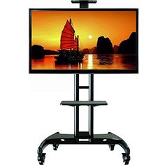 cool North Bayou Universal Mobile TV Cart TV Stand with Mount for LED LCD Plasma Flat Panel Screens and Displays 32 To 65 Inch Up To 100lbs (Black, 1 middle Shelf, 1 top shelf) AVA1500-60-1P