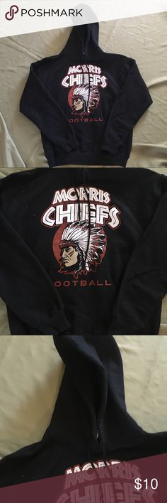 """Gildan Morris Chiefs Football Hoodie Sweatshirt M Men's Medium. Total length measures apx. 26"""". In overall great condition with minimal fade. Price firm unless bundled! Gildan Shirts Sweatshirts & Hoodies"""