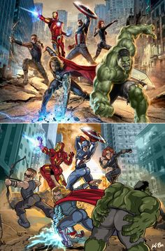What if the male Avengers stood like the female ones? =P