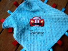 race car themed baby shower | Personalized baby blanket- turquoise blue and red race car- lovey ...