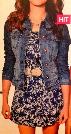 blue jeans vest over blue dress