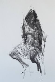 """This piece is by South Korean-born, California-based artist Zin Lim and titled """"Allegro (Spiccato)"""". You can view more of Zin's work through Saatchi Art. Images courtesy of Zin Lim Human Figure Drawing, Life Drawing, Body Drawing, Figure Painting, Painting & Drawing, Charcoal Art, Charcoal Drawings, Pencil Drawings, Drawing Poses"""