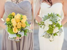 Eco Spring Vintage Green Silver Yellow Bouquet Chiffon Strapless Sweetheart Tea Wedding Flowers Photos & Pictures - WeddingWire.com