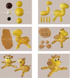 Explications pas à pas pour modeler une girafe. Pour cela, il vous faut de la pâte à sucre jaune, de la marron clair, un peu de noir et de blanc. Vous pouvez trouver de la pâte à sucre ici.