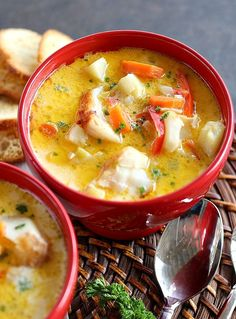 Oven Baked Chowder is made with classic vegetables and mild white fish. Paleo friendly, this method is effortless with a huge flavor payoff. Oven Baked Chowder Olga Graf Soups & Stews Oven Baked Chowder is made with classic vegetables an Seafood Soup, Seafood Dishes, Fish And Seafood, Seafood Recipes, Paleo Recipes, Soup Recipes, Cooking Recipes, Baked Cod Recipes, Paleo Fish Recipes