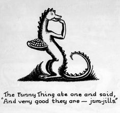 The Funny Thing (with jum-jills) by Wanda Gag.another of Austin's favorites Fairy Tales, Nostalgia, Memories, Black And White, Sayings, Reading, Funny, Illustration, Books