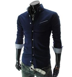 Korean Men Long-Sleeved Business Casual Shirt Navy Blue via Asia-Sale Best Tai Chi, Kung Fu Clothing