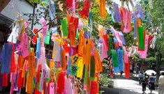 {Bamboo wish tree} Today marked Tanabata 七夕, a Japanese star festival held every summer on July The legend is about two lovers name. Yukata, Okinawa, Diy Craft Projects, Diy Crafts, Tanabata Festival, Star Festival, Food Festival, Oriental, Prayer Flags