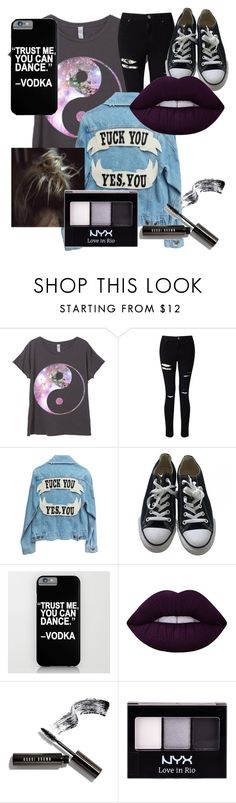"""""""Untitled #42"""" by mymusicrocks ❤ liked on Polyvore featuring Miss Selfridge, Converse, Lime Crime, Bobbi Brown Cosmetics, NYX, rockerchic and rockerstyle"""
