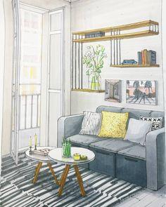 Interior Design Renderings, Drawing Interior, Interior Design Sketches, Industrial Design Sketch, Sketchbook Architecture, Architecture Concept Drawings, Interior Architecture, Interior Cladding, Drawing Furniture