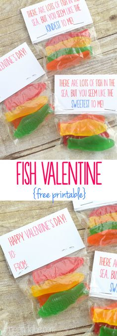 Adorable little tags, paired with fish candy, for a perfect homemade valentine!  ---  http://tipsalud.com  ---