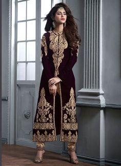 http://www.sareesaga.in/index.php?route=product/product&product_id=24836 Work : Embroidered Resham Work Zari Work Style : Churidar Suit Shipping Time : 10 to 12 Days Occasion : Party Festival Reception Fabric : Velvet Colour : Brown For Inquiry Or Any Query Related To Product, Contact :- +91-9825192886, +91-7405449283