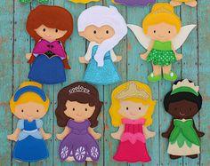 Felt Dress Up Doll -- Princess Felt Doll -- Felt Doll --Travel Toy -- Quiet Book -- Princess Non Paper Doll