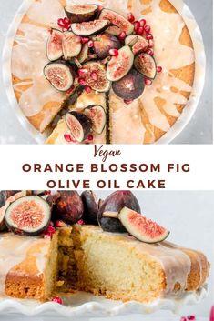 Vegan Baking Recipes, Fig Recipes, Vegan Dessert Recipes, Delicious Vegan Recipes, Delicious Desserts, Cake Recipes, Chocolate Olive Oil Cake, Orange Olive Oil Cake, Fig Cake