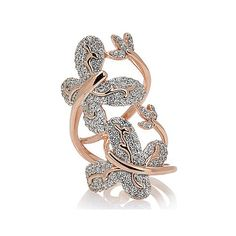 2.55 ct. tw. Cubic Zirconia Butterflies Bypass Ring 14k Rose Gold Plated Over Silver