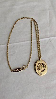 Pierre Cardin Goldplate Necklace, Cancer Zodiac Pendant, Small Diamonf Accent #PierreCardin #Chain