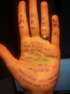 Writing Advice Written on Writers' Hands - Karin Tidbeck